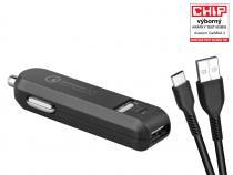 AVACOM CarMAX 2 nabíječka do auta 2x Qualcomm Quick Charge 2.0, černá barva (USB-C kabel)