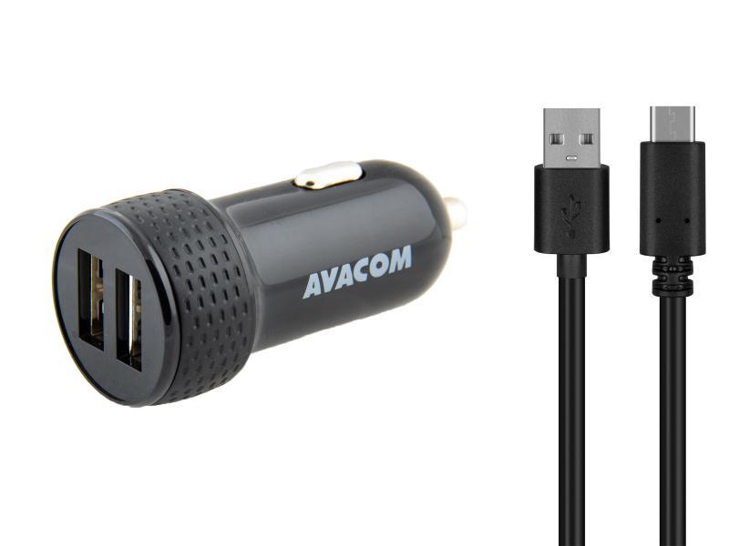 AVACOM nabíječka do auta 5V/3,1A se dvěma USB výstupy, USB - USB-C kabel, černá barva
