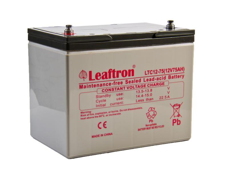 Leaftron 12V 75Ah olověný akumulátor DeepCycle AGM M6 (LTC12-75)