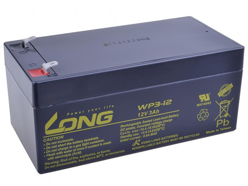 Long 12V 3Ah olověný akumulátor F1 (WP3-12)