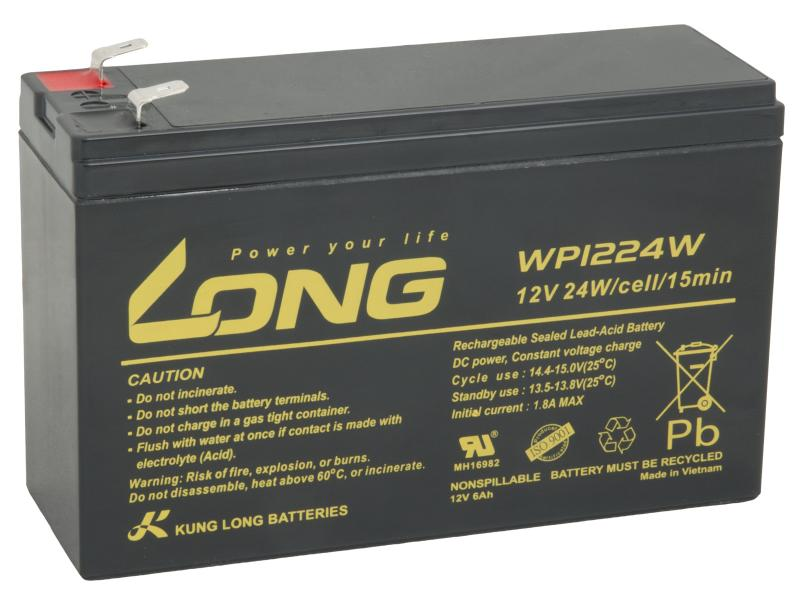 Long 12V 6Ah olověný akumulátor HighRate F2 (WP1224W)