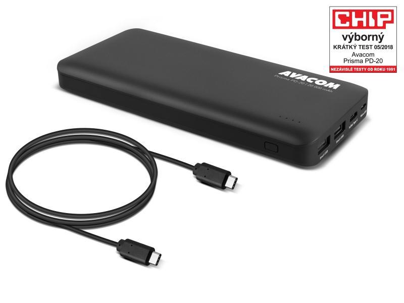 AVACOM externí baterie PRISMA PD-20, Li-Ion 20000mAh, USB-C PD vstup a výstup, černá