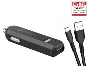 AVACOM CarMAX 2 nabíječka do auta 2x Qualcomm Quick Charge 2.0, černá barva (micro USB kabel)