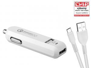 AVACOM CarMAX 2 nabíječka do auta 2x Qualcomm Quick Charge 2.0, bílá barva (micro USB kabel)
