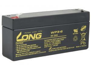 Long 6V 3Ah olověný akumulátor F1 (WP3-6)