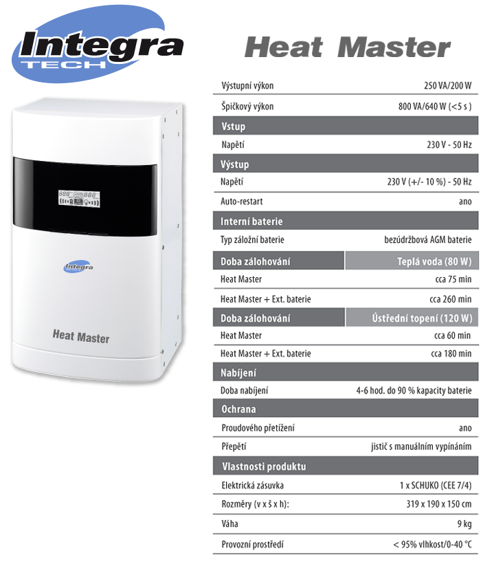 Tabulka Integra tech Heat Master